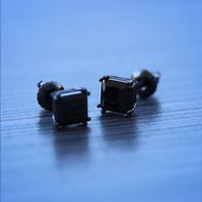 3/5 ctw Black Lab Diamond 4 Prong Hematite screw back square stud earrings 10mm