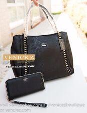 BNWT GUESS JENSYN Chain Handbag Shoulder Bag Satchel Wallet Purse Black