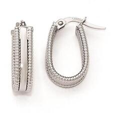 Leslies 14k White Gold Polished Textured Oval Fashion Fancy Hoop Earrings