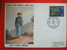 FIRST DAY COVER  EARLY GURKHA UNIFORM NATIONAL ARMY MUSEUM  16 JAN 1972