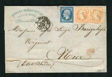 Rare lettre de Marseille pour Nice ( Etats Sardes 1859 ) avec les n° 14A & 16