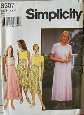 Simplicity pattern 8507 Misses' flared gored skirt Dress, Jacket sz 6,8,10 uncut