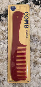 NEW Vintage GOLD CREST Comb Styling Unbreakable Pocket Comb Red 290G USA