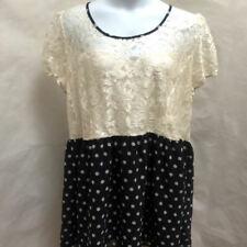 Asos Curve 22 Dress Ivory Floral Lace Navy Blue Polka Dot Plus Size
