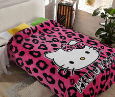"""Hello Kitty Leopard Print Supersoft Plush Bedroom Blanket Throw Cover 59""""x78"""""""
