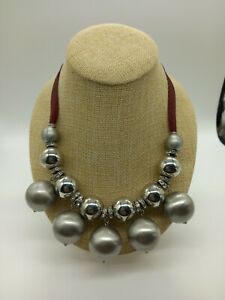 Ben de Lisi Silver Tone Chunky Bead & Dark Red Ribbon Necklace Statement