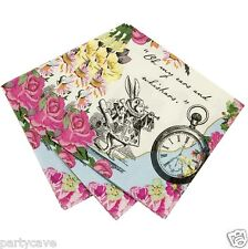 TRULY ALICE IN WONDERLAND VINTAGE MAD HATTERS GARDEN TEA PARTY NAPKINS