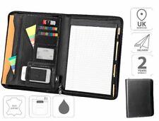 A4 Zipped Conference Folder Business File Portfolio Pad Black FI6520