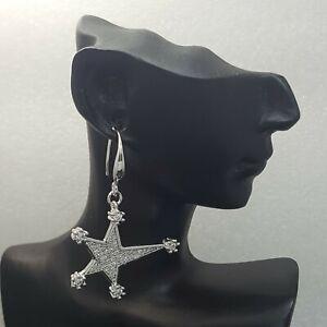18K White Gold Filled Elegant Italian Diamond Star 18ct GF Dangle Earrings 35mm