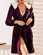 Victoria's Secret The Cozy Short Hooded Plush Bath Robe Large Burgundy New
