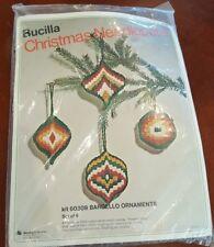 BUCILLA Christmas ORNAMENTS Needlepoint Kit Set of 4 BARGELLO 60309 Vtg 70s