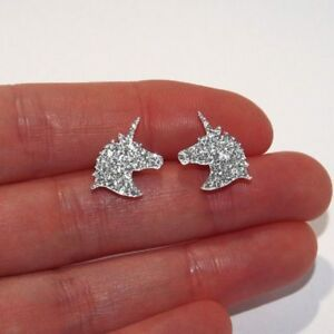 Glitter Unicorn Sparkly Stud Earrings Silver Magical Horse Fantasy Ladies Girls