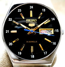 Vintage Japan Seiko 5  Automatic Gorgeous 24 Railway Time Day Date Mens Watch.
