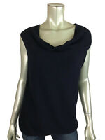 Eileen Fisher S Knit Top Draped Cowl Neck Stretch Navy Blue Shirt Tank Womens Sm
