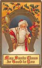 Christmas Santa Claus Horse Show Luck Toys And Holly Antique Postcard K10708