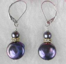 Black Coin Button Pearl Gold Plated Crystal Leverback Dangle Earrings JE235