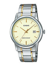 Casio Men's 2-Tone Bracelet Watch, Goldtone Dial, Date,  MTP-V002SG-9A