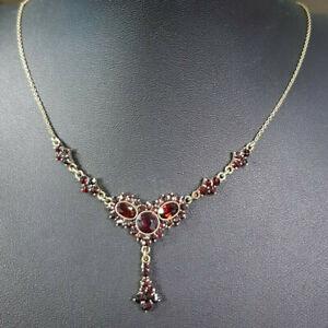 Collier Böhmischer Granat Metall Granatschmuck Art Deco garnet necklace