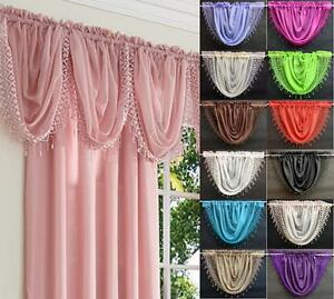 ELEGANCE TASSLED MACRAME VOILE SWAG CURTAIN ~ Decorative Drapes Pelmet Valance