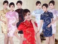 Charming Chinese women's silk mini dress Cheongsam Sz: S M L XL 2XL 3XL 4XL 5XL