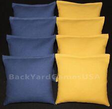 8 All Weather Cornhole Bean Bags Blue & Gold Yellow plastic pellets Waterproof