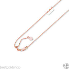 Solid Adjustable Classic Venetian Box Chain Necklace Real 14K Pink Rose Gold