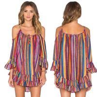 Plus Size AU Women's Chiffon Boho Beach Dress Loose Strap Flare Sleeve Sundress
