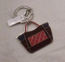 NWT COACH Park Color Block Handbag Tote Key Chain Ring FOB 66661