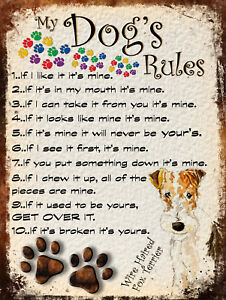 MY DOG'S RULES RETRO STYLE METAL TIN SIGN WIRE HAIRED FOX TERRIER THEME (50DR)