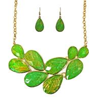 Green and Gold Statement Necklace and Earring Set - NEW
