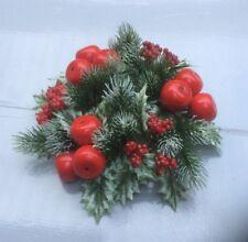 7.6cm Vela Anillo Decoración Navidad Escarchado pino,Manzana & Baya Ajuste Pilar