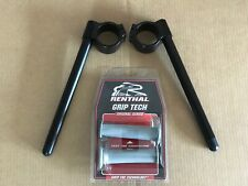 MOTORCYCLE ROAD/RACE 37mm CLIP ONS COLOUR BLACK  INCLUDING RENTHAL GRIPS
