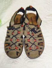 Women's Minnetonka Brown Leather Slip On Sandals Shoes Adjustable Closed Toe 7