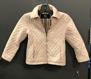 BURBERRY Diamond Quilted Light PINK Cotton Poly Jacket Coat Girls 5Y