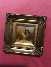 Vintage miniature oil painting fruit bowl painted - signed artist
