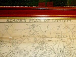 Genuine Antique Large oak framed glazed 1886 map plan of London & its Environs.
