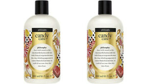 Lot 2x New Sealed Philosophy CANDY CANE  Shower Gel Shampoo 16fl oz