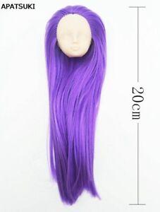 Purple Hair DIY Soft Doll Head For 1/6 BJD Doll Body Practicing Head Accessories