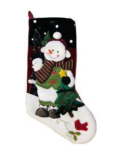 19 In Snowman & Cardinal Red Green White Christmas Tree Stocking