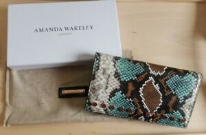 Amanda Wakeley The Lennon with Studs Wallet, Turquoise Python, BNIB (RRP £120)