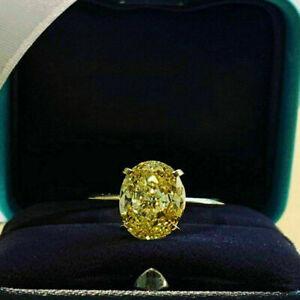 14K Yellow Gold Finish 4.00Ct Oval Cut Canary Yellow Diamond Engagement Ring