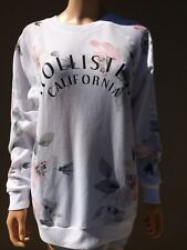 authentic HOLLISTER GIRLS SWEATER crewneck size Small SNOW white NEW floral
