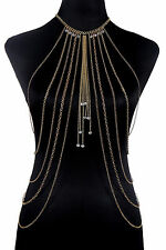 Beads Waist Belly Body Chain Necklace Sexy Rhinestone Beach Gold/Silver Long New
