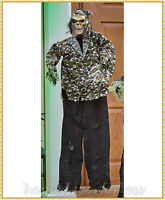 Animated Hanging Talking CAMO SKELETON Halloween Haunted House Prop Decoration