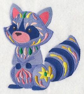 Embroidered Fleece Jacket - Flower Power Baby Raccoon M7030 Sizes S - XXL