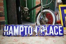 "ANTIQUE  ORIGINAL BLUE ENAMEL STREET SIGN "" HAMPTON PLACE, ADVERTISING DISPLAY"