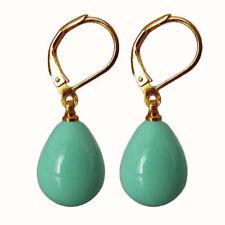 12x16mm Turquoise South Sea Shell Pearl Drop Hook Dangle Earrings JE211