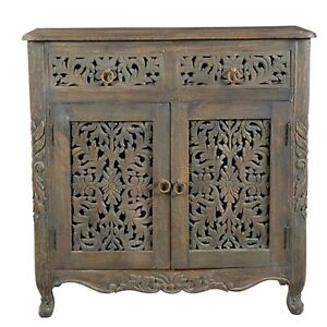 MADE TO ORDER Hand Carved Indian Style Solid Wood Brown Sideboard Floral