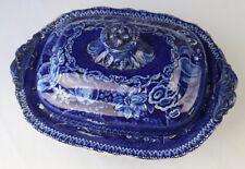 DARK BLUE STAFFORDSHIRE TRANSFERWARE Covered Dish VALLE CRUSIS ABBEY C 1825