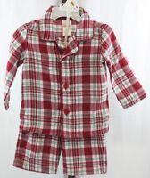 Gymboree Baby Toddler Boys Red Green Plaid 2 Piece Pajama Set Size 12M-18M